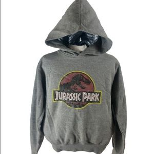 JURASSIC PARK FADED LOGO YOUTH LARGE GRAY HOODIE